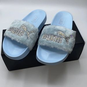 Fenty Bling Fur Baby Blue Bloom Slides 7/7.5